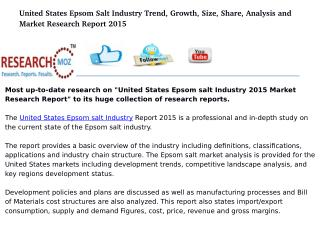 United States Epsom salt Industry 2015 Market Research Report