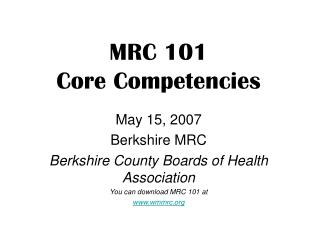MRC 101 Core Competencies