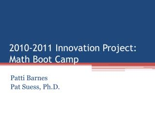 2010-2011 Innovation Project: Math Boot Camp