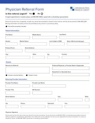 Download Physician Referral Form of Advanced Pain Medical Group