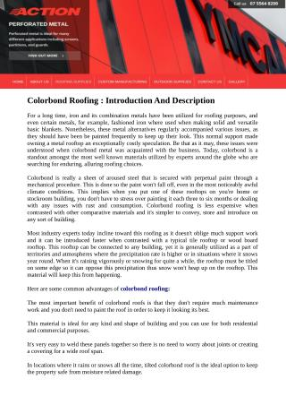 Colorbond Roofing : Introduction And Description