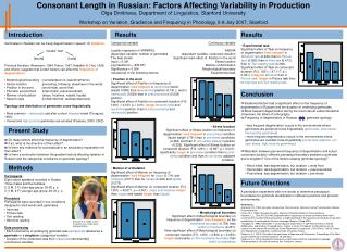 Consonant Length in Russian: Factors Affecting Variability in Production Olga Dmitrieva, Department of Linguistics, Stan