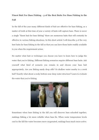 Making use of Live Bait For Bass