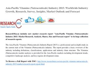 Asia-Pacific Vitamins (Nutraceuticals) Industry 2015 Market Research Report