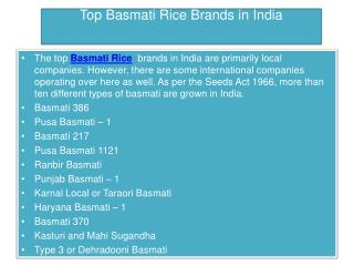 Top Basmati Rice Brands in India
