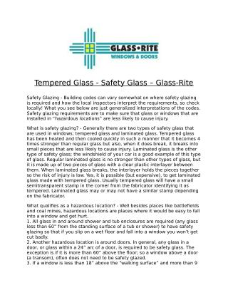 Tempered Glass - Safety Glass – Glass-Rite