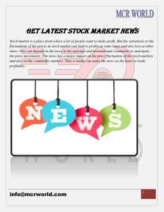 MCR WORLD: Get Latest Stock Market News