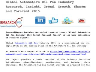 Global Automotive Oil Pan Industry 2015 Market Research Report