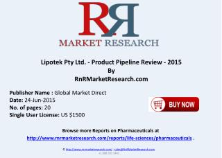 Lipotek Pty Ltd Product Pipeline Review 2015