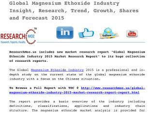 Global Magnesium Ethoxide Industry 2015 Market Research Report