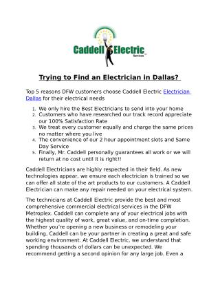 Trying to Find an Electrician in Dallas?