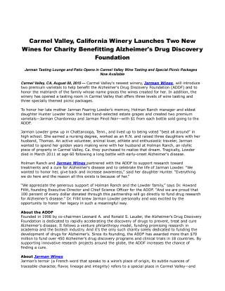 Carmel Valley, California Winery Launches Two New Wines