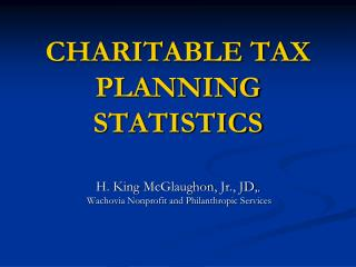 CHARITABLE TAX PLANNING
