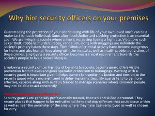 Why hire security officers on your premises