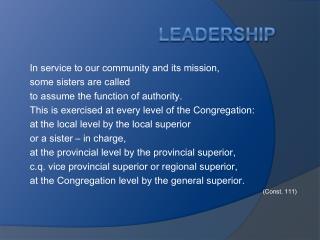 LEADERSHIP CB SISTERS