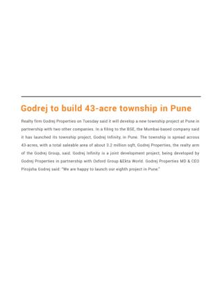 Godrej to build 43-acre township in Pune