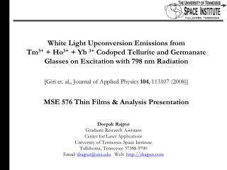 White Light Upconversion Emissions from  Tm3  Ho3  Yb 3 Codoped Tellurite and Germanate Glasses on Excitation with 798 n