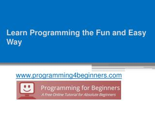Learn Programming the Fun and Easy Way - www.programming4beginners.com