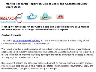 Global Seals and Gaskets Industry 2015 Market Research Report