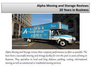 Alpha Moving and Storage Reviews - 20 Years in Business
