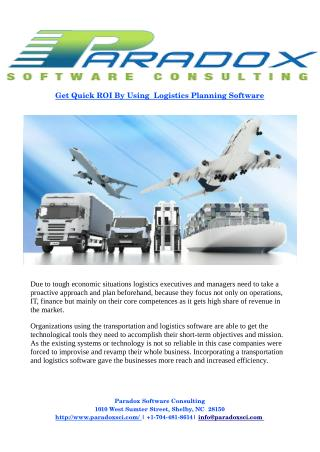 Get Quick ROI By Using  Logistics Planning Software
