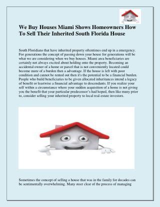 We Buy Houses in Miami