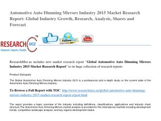 Global Automotive Auto Dimming Mirrors Industry 2015 Market Research Report