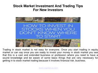 Stock Market Investment And Trading Tips For New Investors