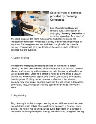 Several types of services provided by Cleaning Companies