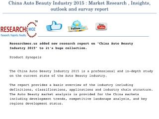 China Auto Beauty Industry 2015 Market Research Report