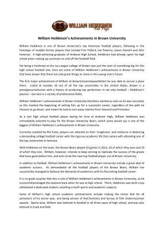 William Heikkinen's Achievements In Brown University