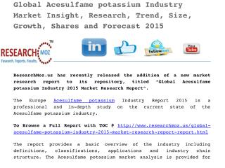 Global Acesulfame potassium Industry 2015 Market Research Report