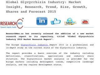 Global Glycyrrhizin Industry 2015 Market Research Report