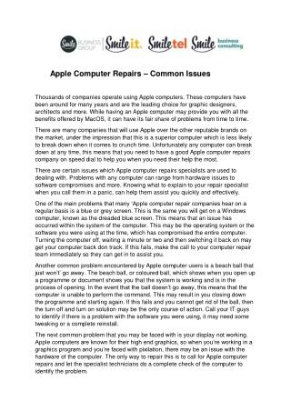 Apple Computer Repairs – Common Issues