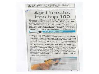 Agnishwar swimmer Breaks into Top 100