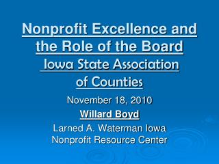 Nonprofit Excellence and the Role of the Board Iowa State Association  of Counties