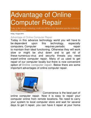 Advantage of Online Computer Repair