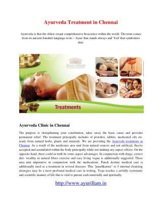 Ayurveda Treatment in Chennai