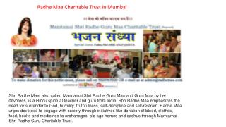 Radhe Maa Charitable Trust in mumbai