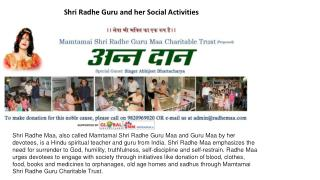 Shri Radhe Guru and her Social Activities