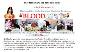 Shri Radhe Guru and her Social works