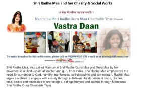 Shri Radhe Maa and her Charity & Social Works