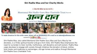 Shri Radhe Maa and her Charity Works