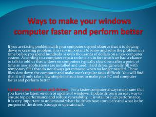 Ways to make your windows computer faster and perform better