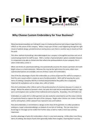 Why Choose Custom Embroidery for Your Business?