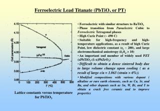 Ferroelectric Lead Titanate PbTiO3 or PT