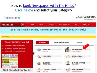 Book Newspaper Classified Text & Display Ads in The Hindu Newspaper.