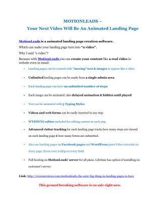 MotionLeads review demo-MotionLeads FREE bonus