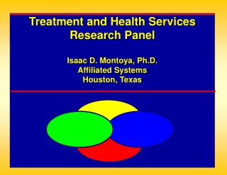Treatment and Health Services Research Panel   Isaac D. Montoya, Ph.D. Affiliated Systems  Houston, Texas