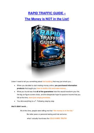 Rapid Traffic Guide  review in detail and massive bonuses included